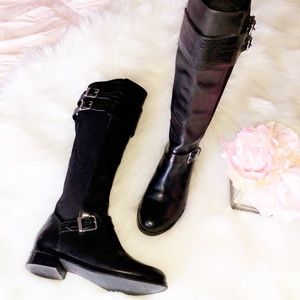 COLE HAAN Black Boa Print Tall Riding Boots